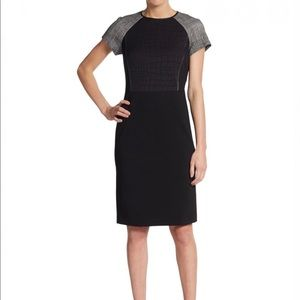 Lafayette 148 NY black crocodile panel dress sz 6